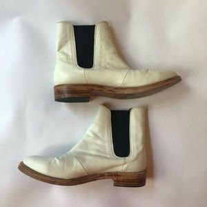 Size 10 white leather ankle boots